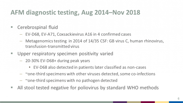 AFM diagnostic testing, August 2014 through November 2018, includes cerebrospinal fluid, upper respiratory specimen positivity, and stool testing