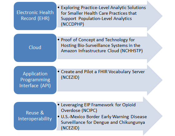 Image shows four themes that are addressed in different ways within each of the five projects that reflect a need in multiple projects and surveillance systems within CDC and with our public health partners