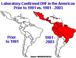 Laboratory Confirmed DHF in the Americas Prior to 1981 vs. 1981-2003