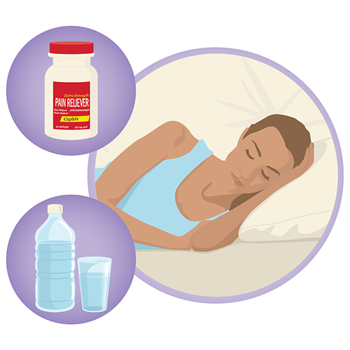 A woman sick in bed, a bottle of pain relievers, a bottle and drinking glass with water in them