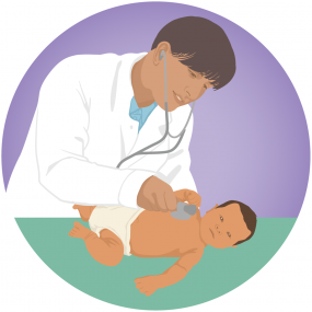 Doctor treating an infant