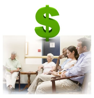 Photo collage of a waiting room at a hospital and a dollar sign.