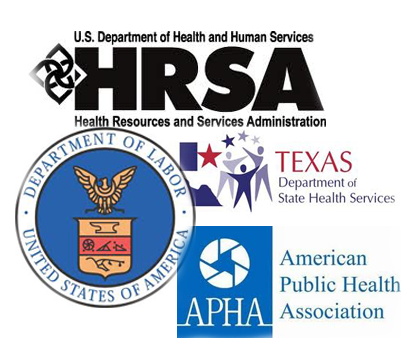 HRSA, Department of Labor, APHA, and Texas Department of State Health Services logos.