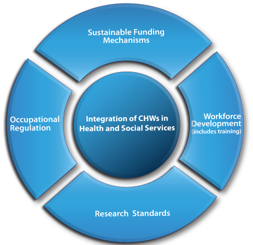 Circular graphic with an outer ring and an inner circle. The outer ring is broken into four parts: Sustainable Funding Mechanisms, Workforce Development (includes training), Research Standards, and Occupational Regulation. The inner circle is labeled Integration of CHWs in Health and Social Services.