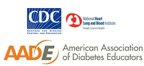 CDC, NHLBI, and AADE logos.