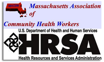 Massachusetts Association of Community Health Workers and HRSA logos.