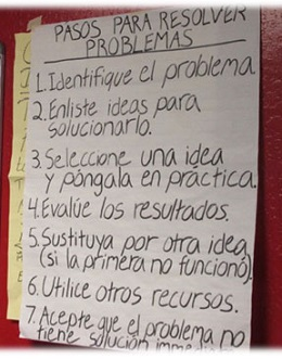 A list of ways to identify and resolve problems from a whiteboard.
