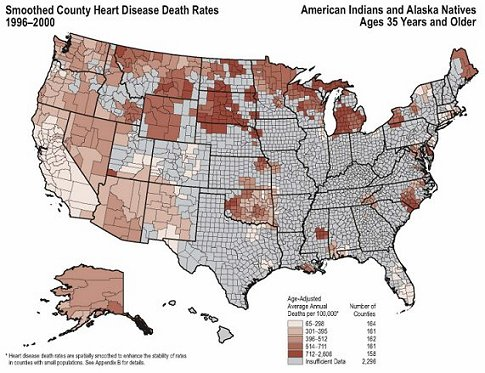 Heart Disease Death Rates for 1996 through 2000 for American Indians and Alaska Natives Aged 35 Years and Older by County. The map shows that concentrations of counties with the highest heart disease rates—meaning the top quintile—are located primarily in South Dakota, North Dakota, Wisconsin, and Michigan.