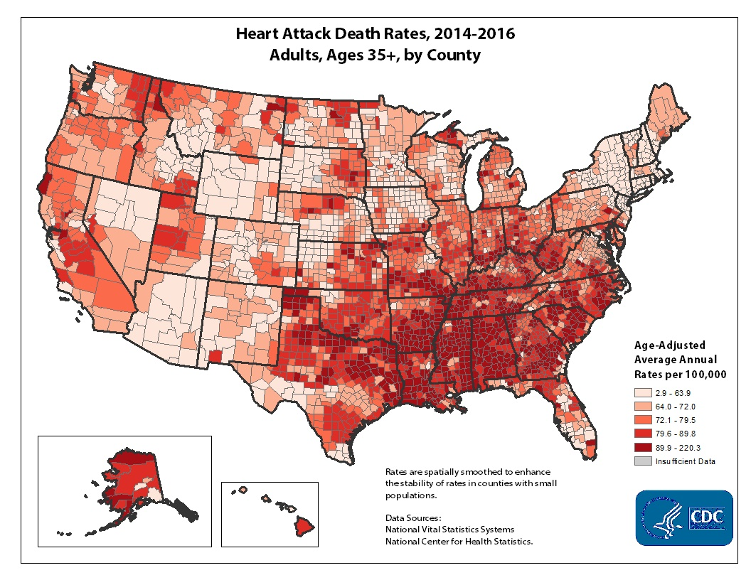 Age adjusted average annual deaths per 100,000 among adults ages 35 and older, by county. Rates range from 11.5 to 467.2 per 100,000. The map shows that concentrations of counties with the highest heart disease death rates - meaning the top quintile - are located primarily in Arkansas, Kentucky, Tennessee, Missouri, and parts of South Dakota and Texas.