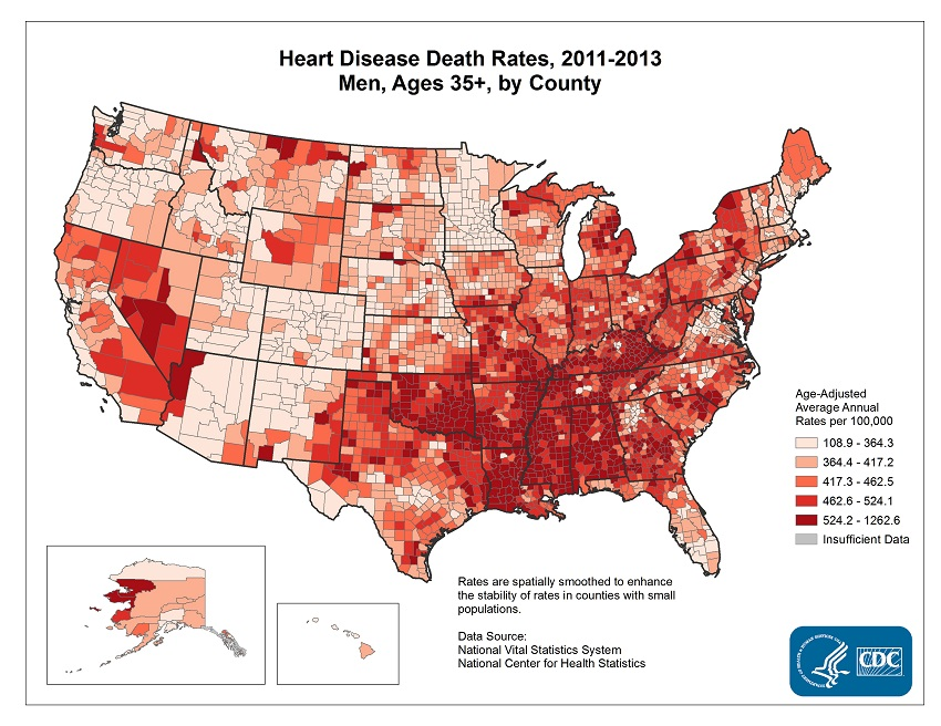 Age adjusted average annual deaths per 100,000 among men ages 35 and older, by county. Rates range from 108.9 to 1262.6 per 100,000. The map shows that concentrations of counties with the highest heart disease death rates - meaning the top quintile - are located primarily in Alabama, Mississippi, Louisiana, Oklahoma, southern Georgia, eastern Kentucky, and parts of Arkansas and Tennessee.