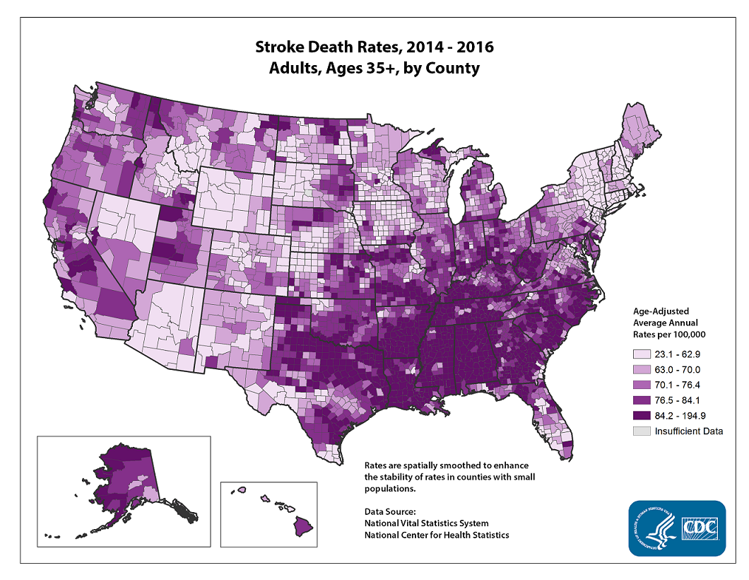 Age adjusted average annual deaths per 100,000 among adults ages 35 and older, by county. Rates range from 17.5 to 207.0 per 100,000. The map shows that concentrations of counties with the highest stroke death rates - meaning the top quintile - are located primarily in the Southeast, with heavy concentrations of high-rate counties in Arkansas, Alabama, Louisiana, Mississippi, and north Texas.