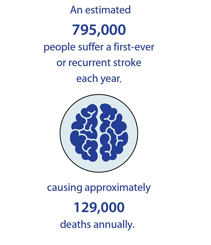 An estimated 795,000 people suffer a first-ever or recurrent stroke each year, causing approximately 129,000 deaths annually.