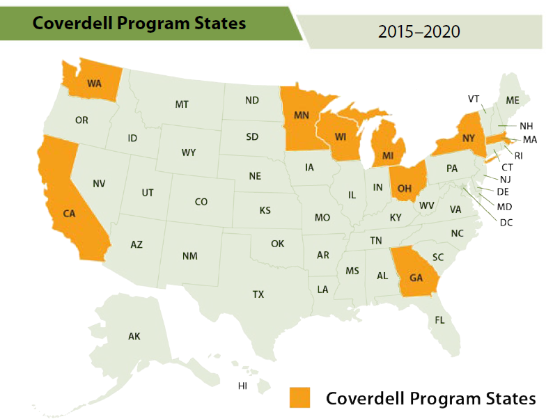 Currently funded PCNASP states are shown in orange and include California, Georgia, Massachusetts, Michigan, Minnesota, New York, Ohio, Washington, and Wisconsin.