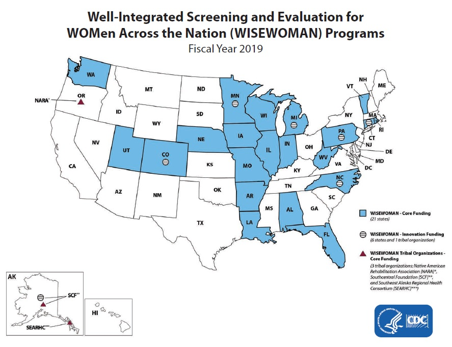 A map of the United States depicting states and tribal organizations that received fiscal year 2019 funding from the Well-Integrated Screening and Evaluation for Women Across the Nation (WISEWOMAN) program. Twenty-one states received WISEWOMAN funding, including Alabama, Arkansas, Colorado, Connecticut, Florida, Illinois, Indiana, Iowa, Louisiana, Michigan, Minnesota, Missouri, Nebraska, North Carolina, Pennsylvania, Rhode Island, Utah, Vermont, Washington State, West Virginia, and Wisconsin. Organizations in seven states (Alaska, Colorado, Connecticut, Michigan, Minnesota, North Carolina, and Pennsylvania) received Innovation Funding. Three tribal organizations received funding, including the Southcentral Foundation (SCF) and Southeast Alaska Regional Health Consortium (SEARHC) in Alaska and the Native American Rehabilitation Association in Oregon.