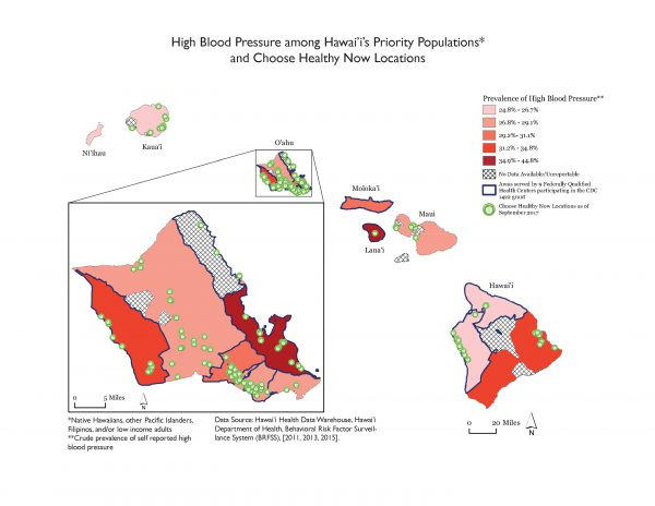 This map shows self-reported crude-prevalence of hypertension among Native Hawaiian, other Pacific Islander, Filipino, and/or low-income adults, Hawaii's priority population for the 1422 Cooperative Agreement, from the 2013 and 2015 Behavioral Risk Factor Surveillance System. Prevalence of high blood pressure was classified in quantiles, by community. Communities served by a federally qualified health center (FQHC) were highlighted with a thick, blue border, and Choose Healthy Now locations were symbolized with a white circle with a green border to mimic the Choose Healthy Now logo. Rural communities tended to have higher rates of hypertension than urban communities.