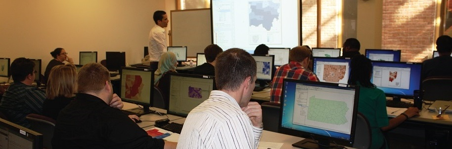 People attending a GIS training class.