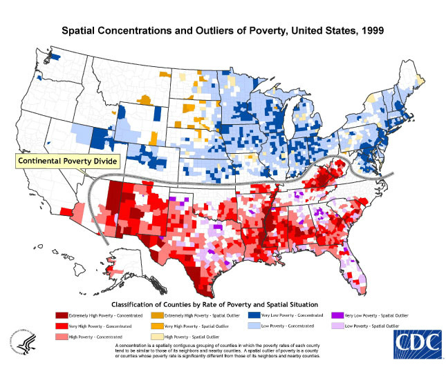 GIS ExchangeMap Details Spatial Concentrations And Outliers Of - Us poverty state map