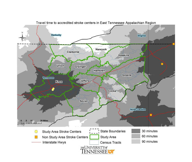 GIS Exchange|Map Details - Travel Time to Accredited Stroke Centers ...