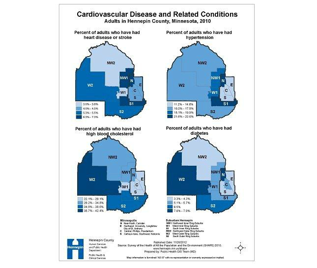 Cardiovascular disease and related conditions, adults in Hennepin County, Minnesota, 2010