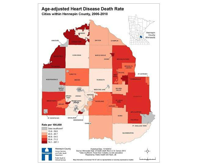 Age-adjusted Heart Disease Death Rate: Cities within Hennepin County, 2006-2010
