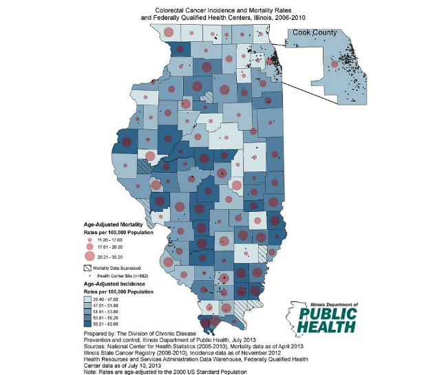 Illinois Department of Public Health Office of Health Promotion Colorectal Cancer Age-Adjusted Incidence and Mortality Rates and Federally Qualified Health Centers