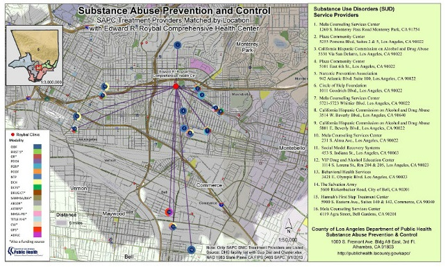 Substance Abuse Prevention and Control SAPC Treatment Providers Matched by Location with Edward E. Roybal Health Center