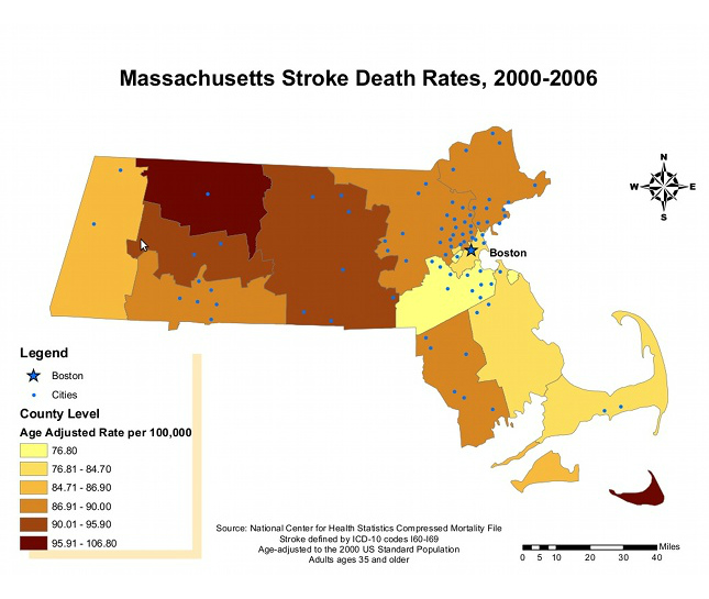 map of massachusetts showing stroke death rates by region