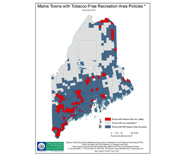 GIS ExchangeMap Details Maine Towns With TobaccoFree - Maine towns map