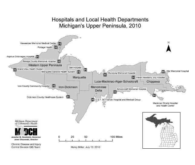 Upper Pennisula Michigan Map.Gis Exchange Map Details Michigan Upper Peninsula Hospitals And