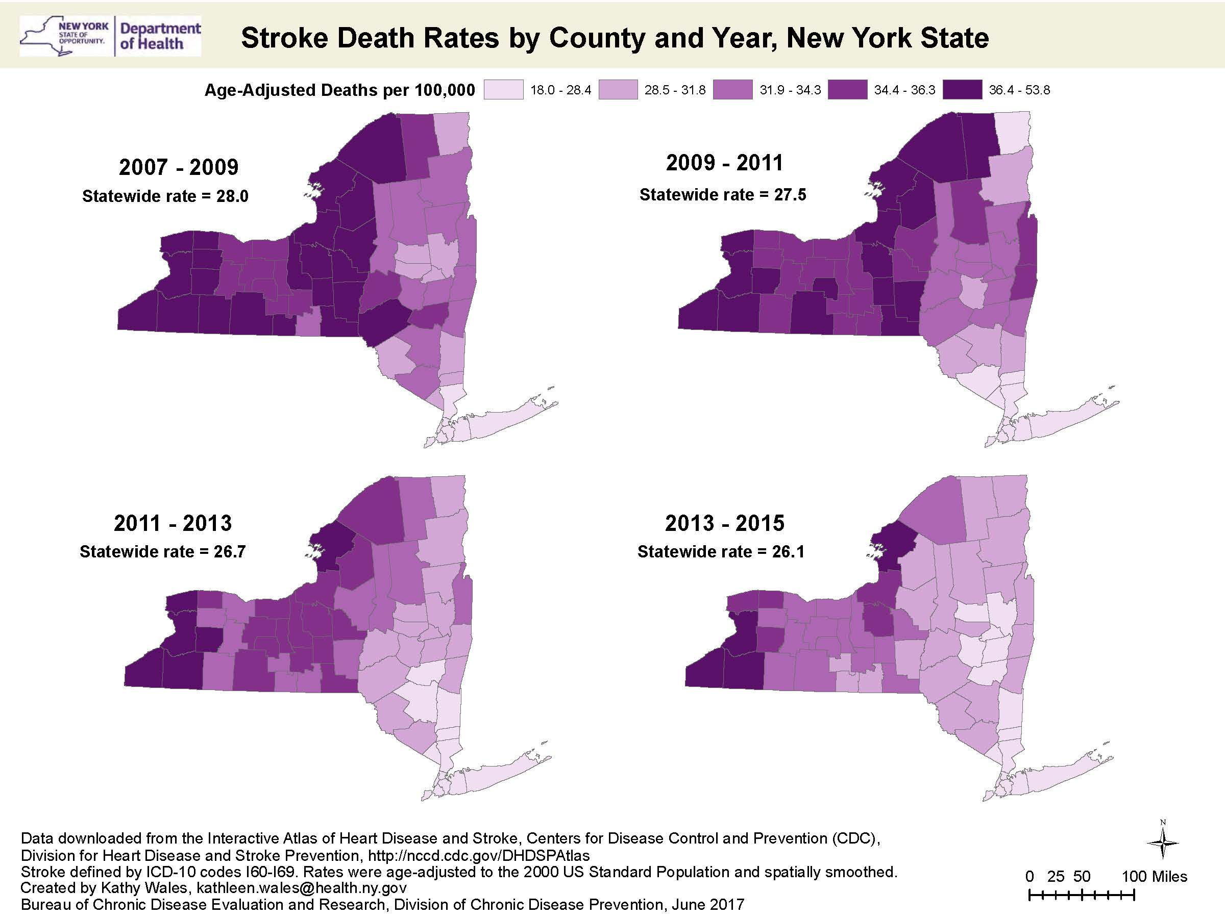 GIS Exchange|Map Details - Stroke Death Rates by County and ...