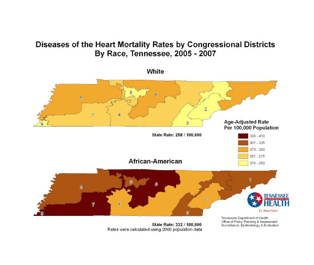Diseases Of The Heart Mortality Rate By U S Congressional District Tennessee 2005 2007