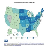 Colorectal Cancer Incidence Rates, by State, 2007