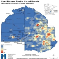 Heart Disease Deaths Kernel Density: Cities within Hennepin County, 2006-2010