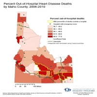 Percent Out-of-Hospital Heart Disease Deaths by County, 2006-2010