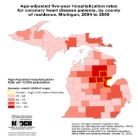 Age-adjusted five-year hospitalization ratesfor coronary heart disease patients, by countyof residence, Michigan, 2004 to 2008