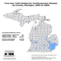 Five-year Total Deaths for Cardiovascular Diseaseby County, Michigan, 2004 to 2008