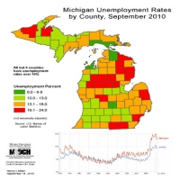 Michigan Unemployment Rates by County, September 2010