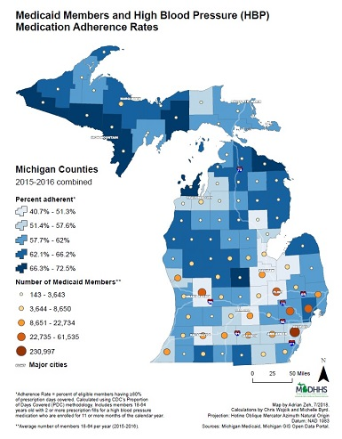 This map gives county-level rates of medication adherence in the Medicaid population, along with the average number of members from each county from 2015–2016. The Michigan Department of Health and Human Services hopes to focus our efforts to improve adherence on counties with low levels of adherence and a high number of members.