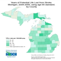 Years of Potential Life Lost from Stroke,Michigan, 2004-2008; using age 65 standard;by County