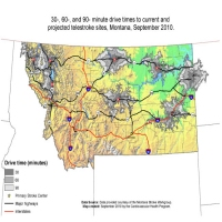 30-, 60-, and 90-minute drive times to current and projected telestroke sites, Montana, September 2010.