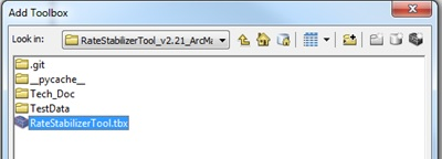 The Add Toolbox window with the Rate Stabilizer Tool highlighted.