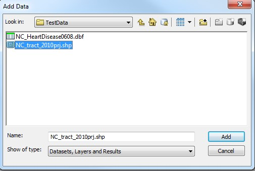 The Add Data option, with the .shp dataset file highlighted.