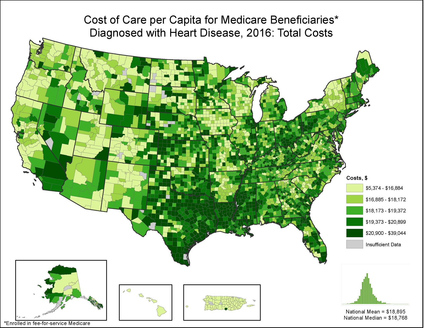 Costs of Care per Capita for FFS Medicare beneficiaries diagnosed with Heart Disease, 2015: Total Costs, by county. This map shows the concentrations of counties with the highest total costs per capita  – meaning the top quintile – are located primarily in Texas, Louisiana, Oklahoma, Mississippi, Florida, and West Virginia, with pockets in Pennsylvania, Michigan, Nevada, and Utah.
