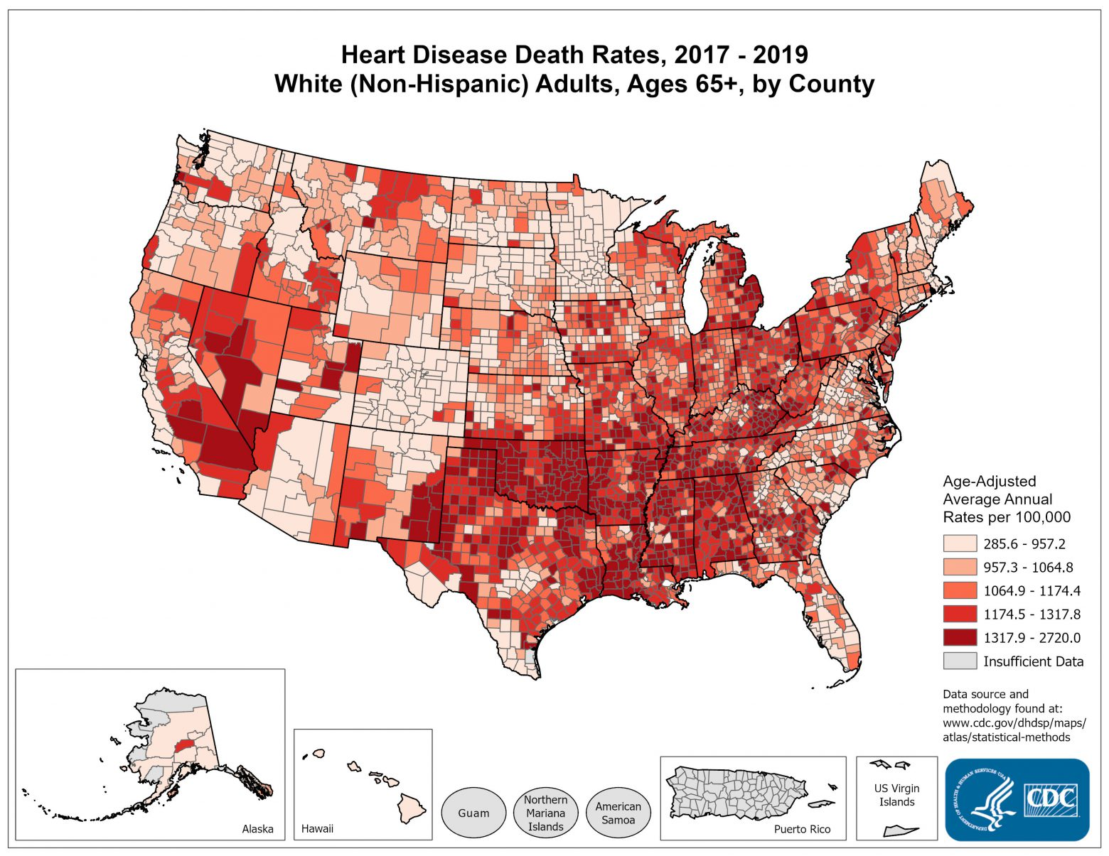 Heart Disease Death Rates for 2012 through 2014 for Whites Aged 65 Years and Older by County. The map shows that concentrations of counties with the highest heart disease death rates - meaning the top quintile - are located primarily in Mississippi, Oklahoma, Arkansas, Louisiana, and Alabama.  Pockets of high-rate counties also were found in Georgia, Kentucky, Tennessee, Missouri, Michigan, Nevada, Texas, and California.