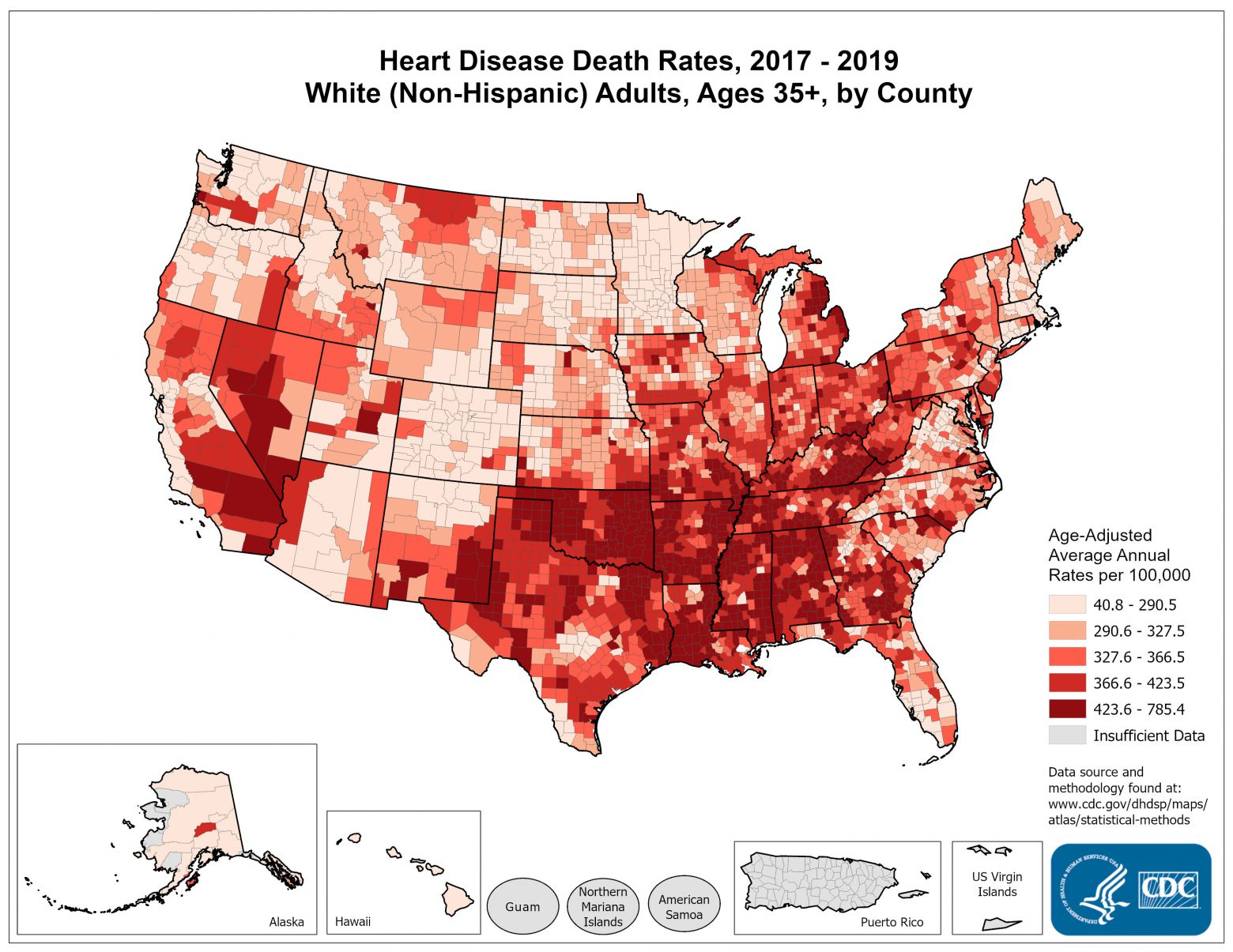 Heart Disease Death Rates for 2012 through 2014 for Whites Aged 35 Years and Older by County. The map shows that concentrations of counties with the highest heart disease death rates - meaning the top quintile - are located primarily in Alabama, Mississippi, Louisiana, Arkansas, Oklahoma, Kentucky, and Tennessee.  Pockets of high-rate counties also were found in Georgia, South Carolina, Missouri, California, Nevada, Texas, and New Mexico.