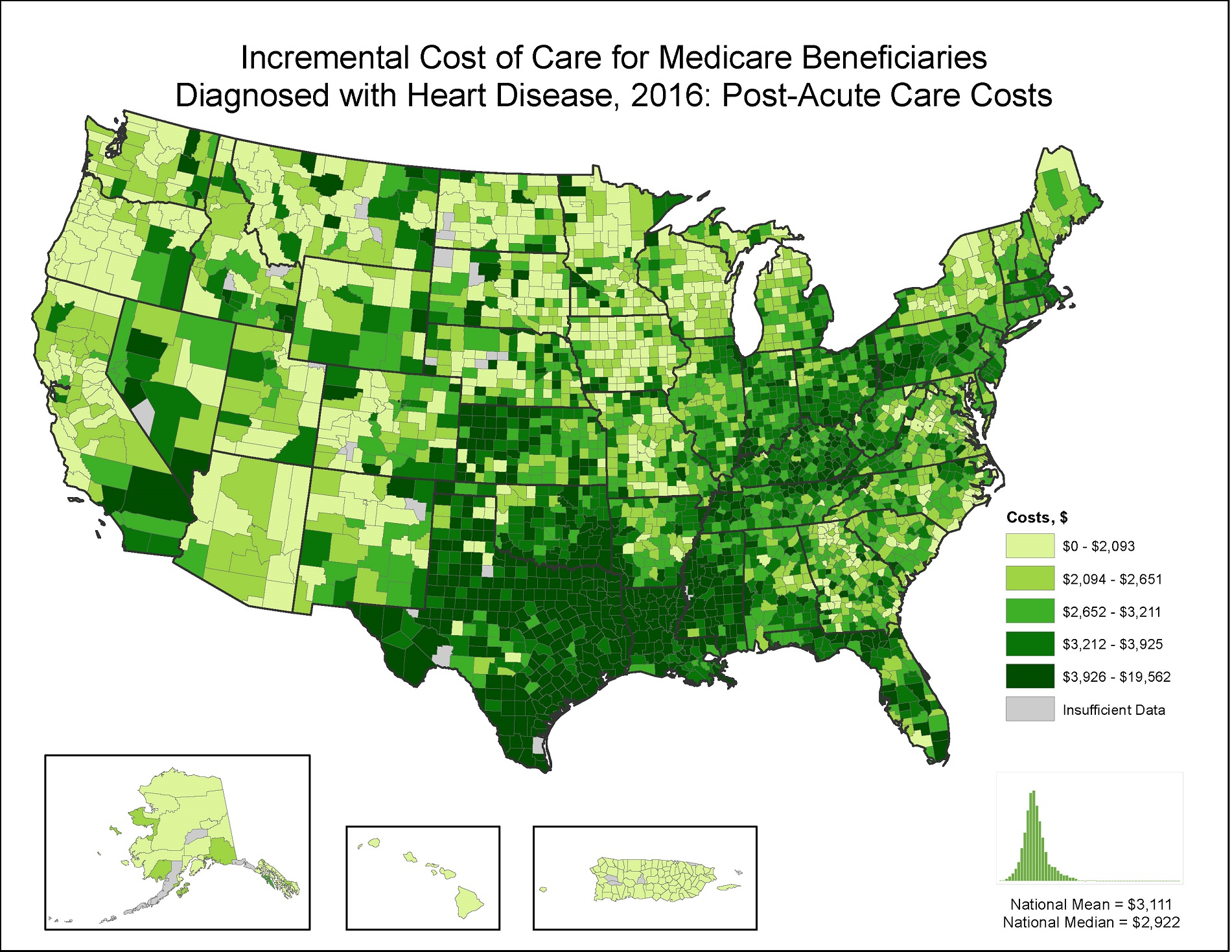 Incremental Costs of Care per Capita for FFS Medicare beneficiaries diagnosed with Heart Disease, 2015: Post Acute Care Costs, by county. This map shows the concentrations of counties with the highest incremental post acute care costs per capita – meaning the top quintile – are located primarily in Texas, Oklahoma, Louisiana, and Mississippi, with pockets located in southeastern Oregon, Nevada, Wyoming, Pennsylvania, Florida, Tennessee, and Kentucky.
