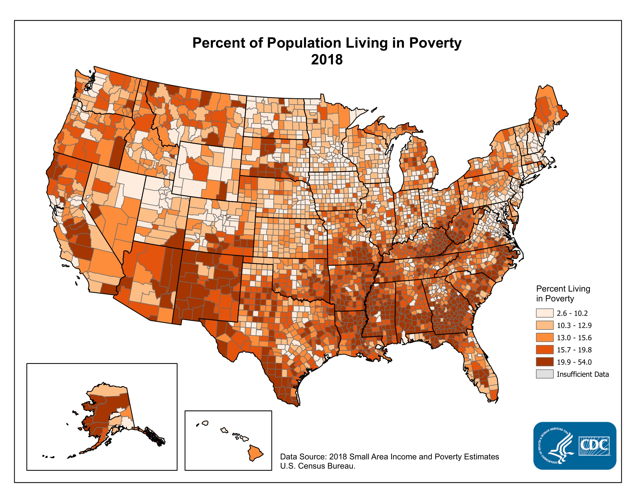 Counties with the highest percentages were located primarily in the South Atlantic, Lower Mississippi River, Appalachian, and Southwestern Regions. The frequency distribution indicates that for the majority of counties, the percentage of the population living in poverty was between 5% and 25%.