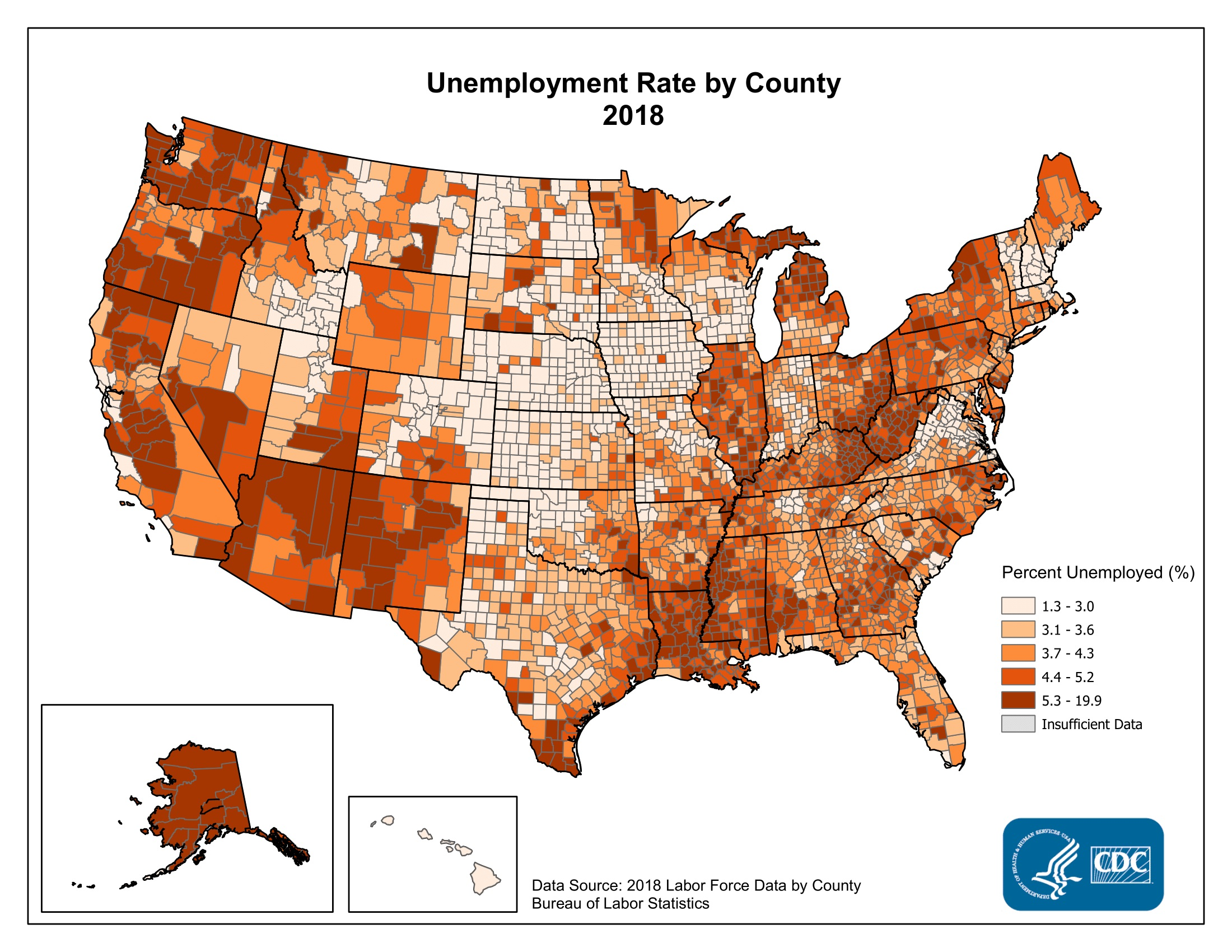 Unemployment Rate by County 2015. Counties with the highest unemployment rates in 2015 were scattered throughout northern Michigan, Alaska, the West Coast, the Mississippi Delta, eastern Kentucky, and rural Georgia and Alabama. The range in the unemployment rate was between 1.8% and 24.3%.