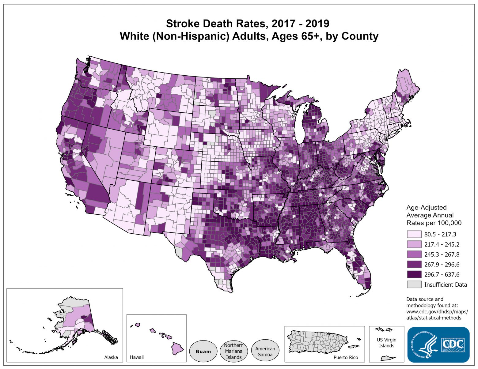 Stroke Death Rates for 2014 through 2016 for Whites Aged 65 Years and Older by County. The map shows that concentrations of counties with the highest stroke death rates - meaning the top quintile - are located primarily in the Southeast, with heavy concentrations of high-rate counties in Arkansas, West Virginia, and Kentucky. Pockets of high-rate counties also are found in Tennessee, Alabama, Louisiana, Mississippi, Oklahoma, North Dakota, South Dakota, Montana, Ohio, Michigan, northern Idaho, and the coastal plains of North Carolina, South Carolina, and Georgia.