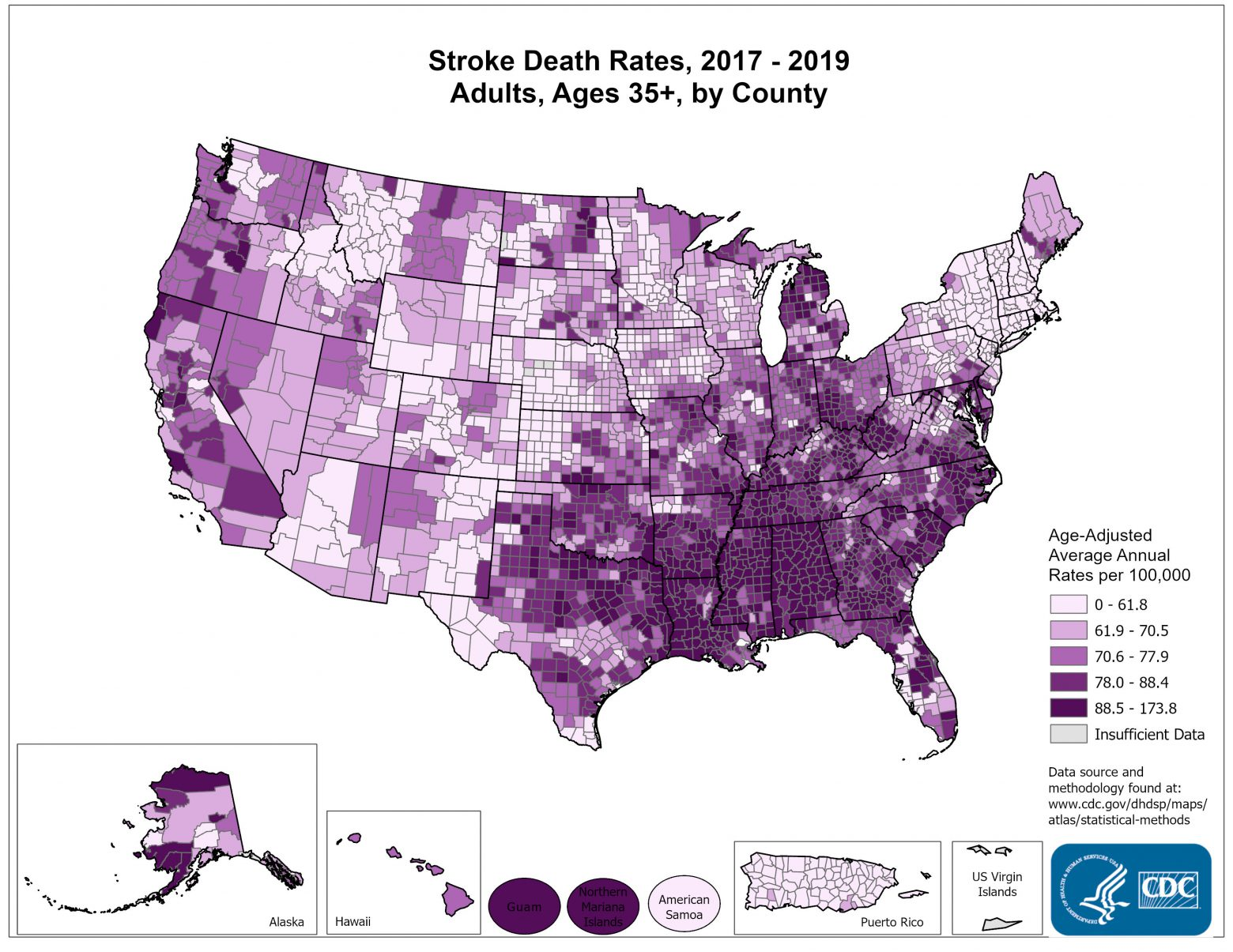 Stroke Death Rates for 2011 through 2013 for Adults Aged 35 Years and Older by County. The map shows that concentrations of counties with the highest stroke death rates - meaning the top quintile - are located primarily in the Southeast, with heavy concentrations of high-rate counties in Georgia, Alabama, Mississippi, and Arkansas. Pockets of high-rate counties also are found in Alaska, Tennessee, Oklahoma, parts of Texas, and along the coastal plains of North Carolina and South Carolina.